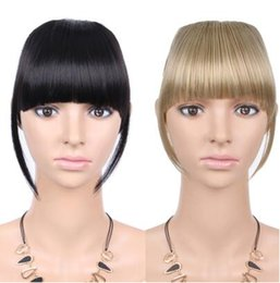 clip extensions mixed color UK - 2019 Black Brown Blonde Fake Fringe Clip In Bangs Hair Extensions With High Temperature Synthetic Fiber