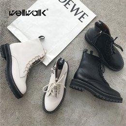 $enCountryForm.capitalKeyWord Australia - Black White Martin Ankle Boots Women Lace Up Short Booties Platform Ladies Winter Retro Motorcycle Casual Shoes Round Toe