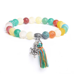 White agate stone beads online shopping - Women ladies femme Natural colourful agates green red orange white stone beads bracelet silver snow tassel charm bracelet gifts