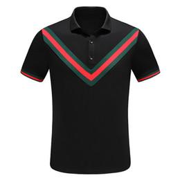 $enCountryForm.capitalKeyWord Australia - Summer Brand Designer Fashion Classic Men's Bee Stripe T-Shirt Cotton Men's Designer T-Shirt White Black Designer Polo Shirt Men's M-3XL