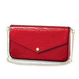 Chinese  M61293 POCHETTE FÉLICIE Patent leather red Real Caviar Lambskin Chain Flap Bag LONG CHAIN WALLETS KEY CARD HOLDERS PURSE CLUTCHES EVENING manufacturers