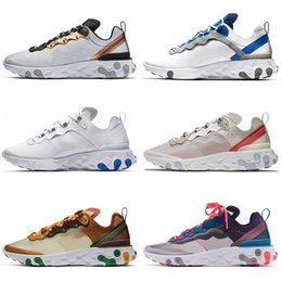 womens yellow canvas shoes NZ - Free Socks React Element 87&55 Running Shoes Mens Womens Sports Sneakers Metallic Gold White Game Royal Habanero Orange Peel Tour Yellow