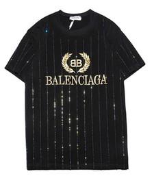 Chinese  9102 new tee black bb men women Golden letter logo embroidery rhinestone T-Shirt short Sleeve O-neck T-Shirt wholesale S-XXL manufacturers