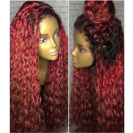 $enCountryForm.capitalKeyWord NZ - Brazilian Curly Lace Front Human Hair Wigs Remy Hair Ombre 1B 99j Burgundy Full Lace Wigs With Baby Hair