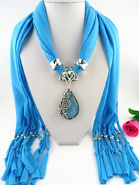$enCountryForm.capitalKeyWord NZ - Fashion Necklaces For Women soft Shawl Stole Wrap Silk polyester Scarves Resin Bead Charm Long Necklaces Pendants