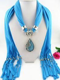 $enCountryForm.capitalKeyWord Australia - Fashion Necklaces For Women soft Shawl Stole Wrap Silk polyester Scarves Resin Bead Charm Long Necklaces Pendants