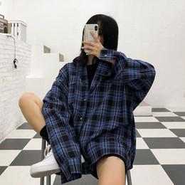 $enCountryForm.capitalKeyWord Australia - Blue Chequered Shirt Women Retro Hong Kong Style Spring New Type Long Sleeve Loose Shirts Korean Hip-hop Men and Women