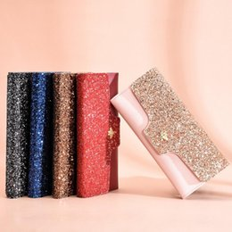 Wholesale New Women Casual Long Three fold Solid Sequin Snap Button Purses Clutch Wallet New Fashion Shoes Accessories