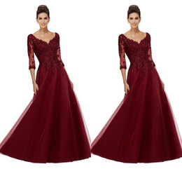 $enCountryForm.capitalKeyWord UK - A-line Burgundy Mother Of Bride Dresses 2019 Illusion 1 2 Long Sleeve 3D Flowers Lace Applique Mother Dress For Wedding Evening Gowns Formal