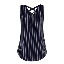 Tank Crossing UK - Women Summer Top Loose Sleeveless Tank Top Cross Back V-neck Striped Tops Womans Clothes Top Female Ropa Verano Mujer 2019