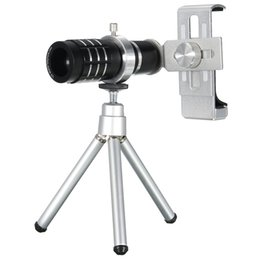 telescope zoom 12x Australia - 12X Zoom Camera Telephoto Telescope Lens with Phone Clip Tripod Stand for Universal Cell Phones 3 Colors