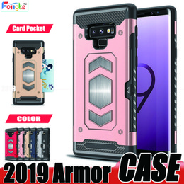 car mount for iphone NZ - Armor Case For Samsung Galaxy S9 S8 Plus S7 edge S6 Note 8 J7 A8 2018 Card Pocket Cell Phone cases With Magnetic Car Mount For iPhone 8 7 6
