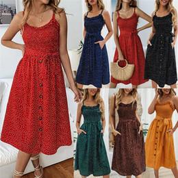 Dot Line Dress Australia - Summer Women Dresses Dots Retro Buttons Ruffles neck Dress Sleevess A-line Strap Women clothing 2019 Wholesale