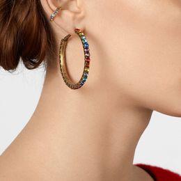 big crystal hoops 2019 - Korean Crystal Small Big Hoop Earrings Colorful For Women 2019 Round Fashion Elegant Jewelry Friend Gift Party Hoop Earr