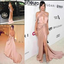 $enCountryForm.capitalKeyWord NZ - Sexy Backless Red Carpet Celebrity Prom Dresses With High Side Split Sheath Special Occasion Party Gowns Halter Pink Arabic Dress For Women