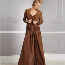 $enCountryForm.capitalKeyWord Australia - 2019 Vintage Chiffon Pants Suits For Mother Of The Bride V Neckline Spaghetti Party Evening For Wedding Mothers Guest Dress With Jacket