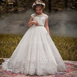 Line Wedding Dress Kids Australia - Stylish A Line Lace Flower Girl Dresses For Wedding Sheer Jewel Neck Appliqued Pageant Gowns Tulle Sweep Train Kids Prom Dress