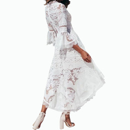$enCountryForm.capitalKeyWord NZ - Vacation Irregular White Lace Dress Women V-Neck Trumpet Flare Sleeve Beach Sundress Female Sexy Boho Mini Party Dresses M0103