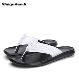$enCountryForm.capitalKeyWord Australia - New Fashion Men White Slippers Outside Trendy Woven Flip Flops Shoes Nonslip Slides Casual Beach Sandals Man