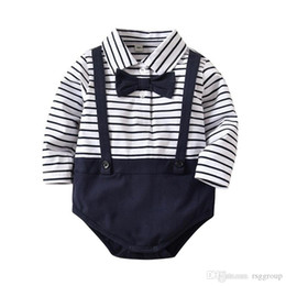 $enCountryForm.capitalKeyWord NZ - Designer Infant Baby Boys Girls Rompers Spring Autumn Stripes Jumpsuits with Bow Tie Long Sleeve Patchwork Bodysuits Dresses Onesies 0-2T