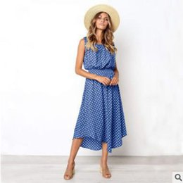 long sleeve maxi dresses Australia - 2019 Latest Design women's dress summer fashion wave retro round neck sleeveless maxi dresses ladies casual clothes long skirts streetwear