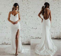 $enCountryForm.capitalKeyWord Australia - 2019 Simple Design Sexy Mermaid Wedding Dresses With Side Slit Full Lace Spaghetti Backless Holiday Garden Bridal Dress