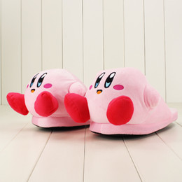 cute anime slippers NZ - 32cm Anime Cartoon Cute Kirby Pink Plush Slippers House Winter Warmer Indoor Shoes Girls Soft Stuffed Toys Gifts
