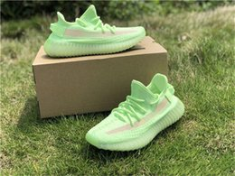 wide running shoes for women Australia - 2019 Authentic 350s V2 Gid Glow In The Dark Eh5360 Kanye West Running Shoes For Men Women Black Fu9161 Clay Static Ef2905 Sneakers With Box