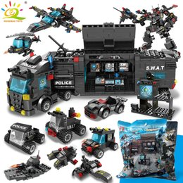 blocks cars NZ - Swat Police Station Command Truck Model Building Blocks Helicopter Legoing City Car Figures Bricks Educational Toys For ChildrenMX190820