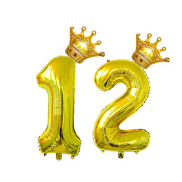 Foil crowns online shopping - 4pcs Number Crown Aluminum Foil Digit inch Mylar Balloons for Birthday Wedding Anniversary Decoration