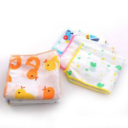 gauze towels NZ - child washcloths handkerchief Cotton towel gauze square baby boys printed saliva towel double gauze thin small handkerchief