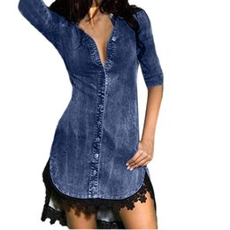 3115e3b54b dress for women Button Down Denim Sexy Dress Ladies Lace Jeans Long Tops Shirt  Dress women s dresses Vestido de mujer g9