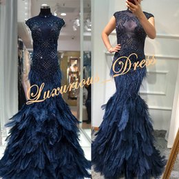 Tulle Feathered Prom Dresses Australia - Luxury Feather Navy Blue Mermaid Evening Dresses 2019 New Design Crystal See Through High Neck Dubai Formal Prom Dresses robe de soiree
