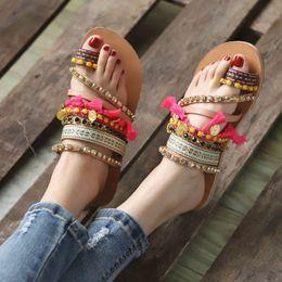 $enCountryForm.capitalKeyWord Australia - MUQGEW 2019 Womens Summer Slip on Bohemian Ethnic Style Flat Shoes Female Sandal Rhinestone Sandals Beach Slipper #0313
