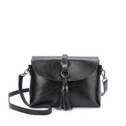 Genuine Leather Brown Bags For Women UK - New Arrival Genuine Leather Female Shoulder Bag Tassel Women Cross body Bag 2019 Fashion Messenger Bag Small Flap Bags for Lady