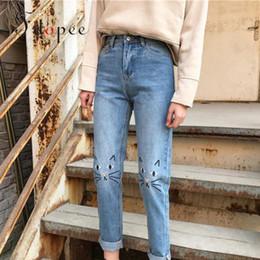 4013a100c Pantalones vaqueros de mezclilla para mujer de moda retro de cintura alta casual  color puro flojo bordado gato confort suave luz azul lápiz pantalones