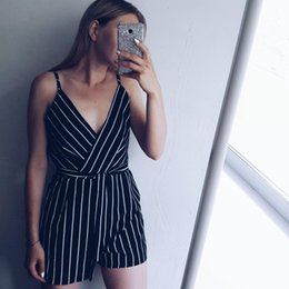 Women Jumpsuit Romper Playsuit Australia - Sexy Playsuit Women Sleeveless Bodycon Black Elegant Jumpsuit Ladies Summer Romper Womens V-neck Stripe Beach Jumpsuits Overall Q190521