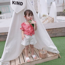 girls style summer shirt Australia - Small Big Brand 2019 Summer New Style Children Plaid Shirt Korean-style Girls Baby Puff Sleeve Classic Red Grid Tops