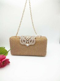 gold wedding hand bags Australia - Boutique Hand Made Women White Beaded Evening Clutch Bag Hard Case Metal Wedding Party Cocktail Beading Handbag and Purse