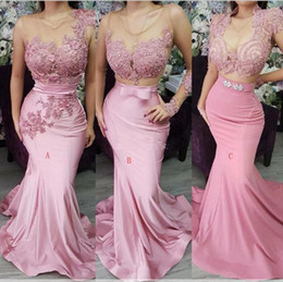 China South African Mermaid Bridesmaid Dresses 2019 Three Types Sweep Train Long Country Garden Wedding Guest Gowns Maid Of Honor Dress Arabic cheap black african wedding dresses suppliers