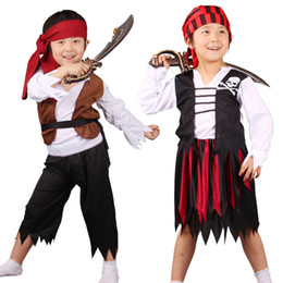 pirates caribbean movie costumes Australia - Halloween Costumes for Boys Girls Caribbean Pirate Costume Child Kids Purim Party Mardi Gras Fancy Dress