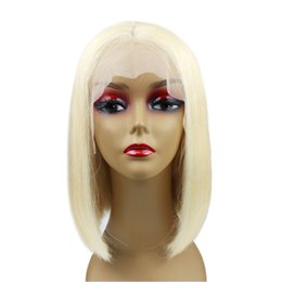 gluless human hair lace wig Australia - Blonde #613 Bob Lace Front Wigs Human Hair Frontal Melting Gluless Silky Straight 13x4 Colored Short Lace Wigs 10inch 180% Density