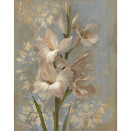 oil painting blue flowers panels Australia - Beautiful oil painting flowers by Silvia Vassileva Gladiola on Soft Blue art on canvas Hand painted