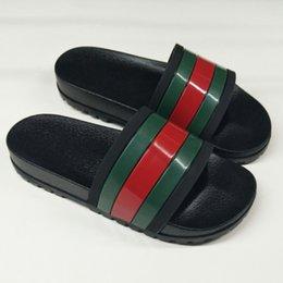 e1f36d3d4 Designer Rubber slide sandal Floral brocade men slipper Gear bottoms Flip  Flops women striped Beach causal