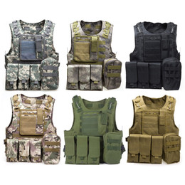 OutdOOr tactical vest online shopping - Camouflage Tactical Vest CS Army Tactical Vest Wargame Body Molle Armor Outdoors Equipment Colors D nylon