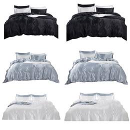 Full Size White Bedding Australia - 4Pcs Bed Sheet Pillowcase Flat Fitted Deep Pocket Queen King Full Sizes Bedding Set