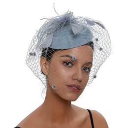f7012967a1093 Fascinator Hats for Women Pillbox Hat Net Fascinators Veil Headband and hair  clip Tea Party Headwear