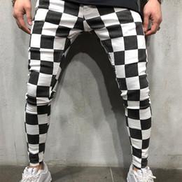 White Long Pants Men Australia - Long Pants Shorts Men Sweatpants Black White Plaid Striped NEW Fashion Fitness Gym Workout Running Streetwear Sportpants
