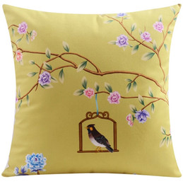 $enCountryForm.capitalKeyWord Canada - Birds And Flowers Cushion Covers Chinese Style Floral Peony Blossom Tree Bird Cage Cushion Cover High Quality Pillow Case Two Sided Print