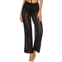Holidays Jersey UK - Amazon explosion models hollow hand hook loose wide pants feet holiday wind beach pants knitted long casual pants P9333